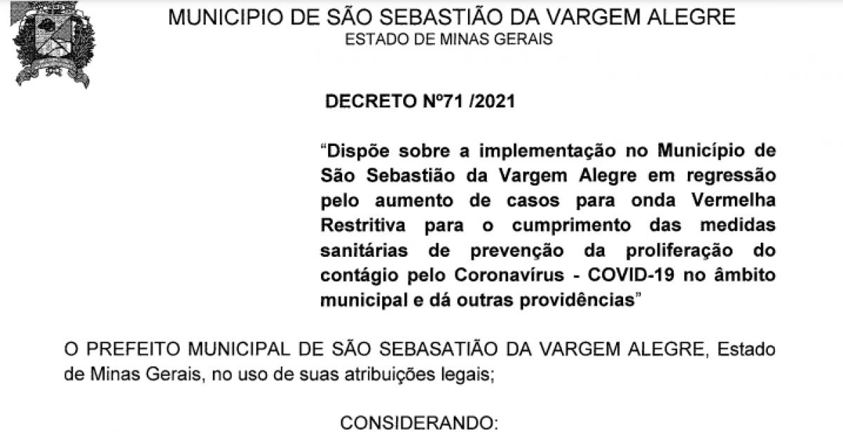 SSVA REGRIDE PARA ONDA VERMELHA - DECRETO Nº 71/2021